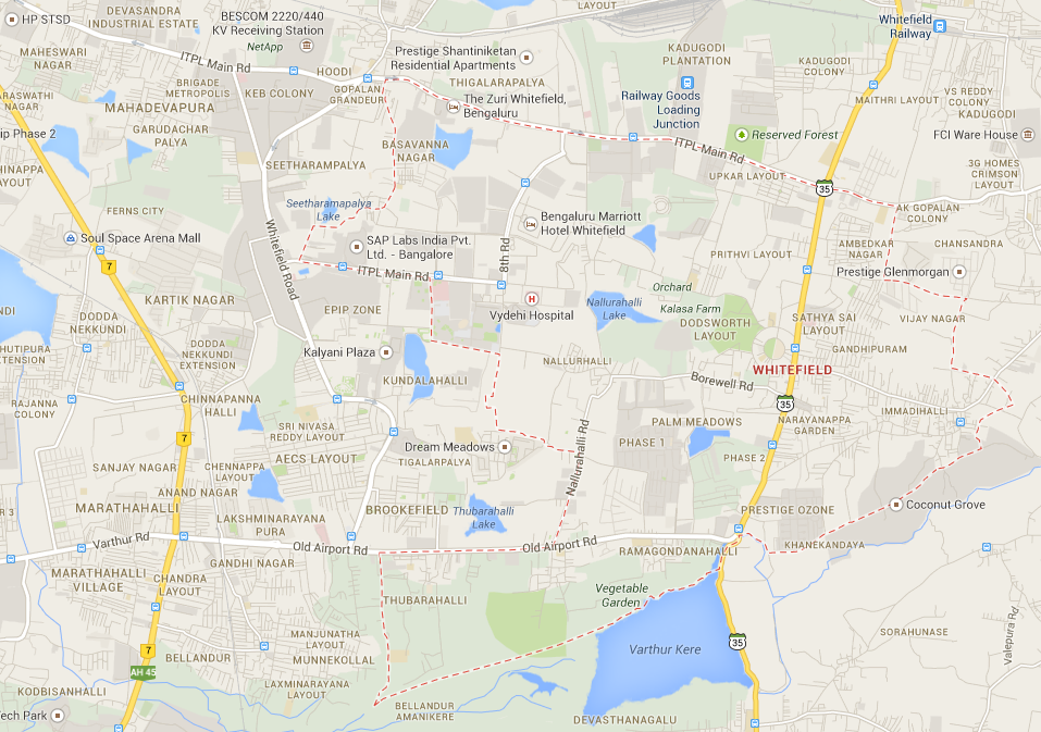 The area marked by the dotted red line outlines all of Whitefield, Bangalore.